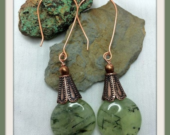 Prehnite Gemstone Earrings Antiqued Copper Hand Crafted Copper Ear Wires Bohemian Jewelry Green Gemstone Earrings Gypsy Chic Earrings