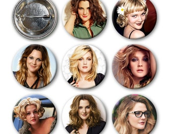 DREW BARRYMORE Pinback Buttons (set of 8)