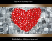 "Valentine's Gift painting Heart Painting wall art home décor canvas art Floral painting impasto palette knife painting ""Love"" by QiQiGallery"