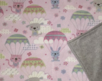 Fleece Blankets - Blankets for Kids - Raining Cats Dogs and Bunnies