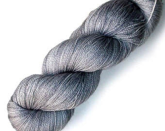 NEW Mulberry Silk and Merino Lace Yarn, 866 yards, Silver Knife