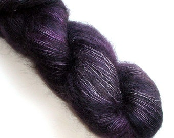Lace Yarn Kid Mohair and Silk Handdyed, Silky Kid 455 yards, Inky Grape