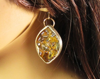 Brass and golden citrine stone earrings
