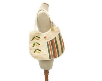 New Vintage 70s Woven Straw Purse Large Beach Tote Raffia Green Orange Stripe Pocket Handmade NWT Unused Original Tag Boho Summer Handbag