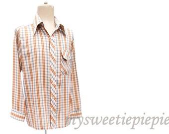 Vintage 70s Western Shirt Pointy Collar Plaid Melon Orange Blue Long Sleeve size Medium Thin Vintage Shirt Mens Button Front Sports Shirt