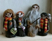 RESERVED FOR CYNTHIA Harry Potter Hermione Granger Ron Weasly Professor Dumbledore Fluffy Dobby and Fang set of 7 Day of the Dead figures