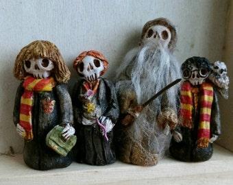 Harry Potter Hermione Granger Ron Weasly Professor Dumbledore set of 4 Day of the Dead figures