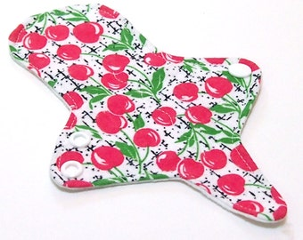ULTRATHIN Reusable Thongliner Cotton Flannel Mini Pad with wings for Every Day - Washable Cotton Flannel - Cherry