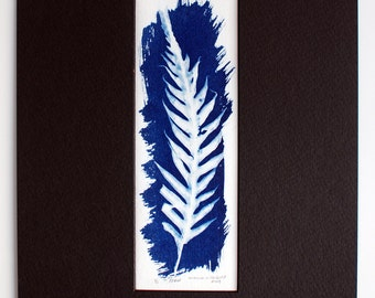 Handpainted Cyanotype matted original artwork fern leaf nature print