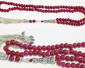 Islamic Prayer Beads Tesbih Gebetskette Genuine Ruby and Sterling -99 Beads