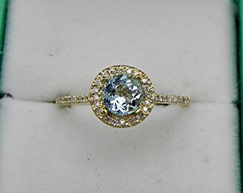 AAA Blue Aquamarine Natural Untreated Round   5.91mm  .74 Carats   18K Yellow gold Halo ring .30 carats of diamonds 0812