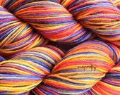 hand-dyed sparkle self-striping sock yarn / fingering weight yarn / super wash stellina wool yarn / pop colorway / purple, gold, pumpkin
