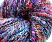 hand-spun scrappy art yarn / 2-ply bulky weight yarn / hand carded confetti colorway / 76 colorful yards