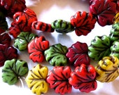 Czech Mixed Maple Leaf Beads with Picasso  11x13mm (20) 1002-P
