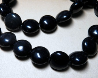 Obsidian Smooth Puffed Coin Gemstone Beads 14mm (28)