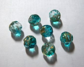 Vintage Transparent Aqua Blue & Gold Twist Nugget Acrylic Beads 15mm (10)