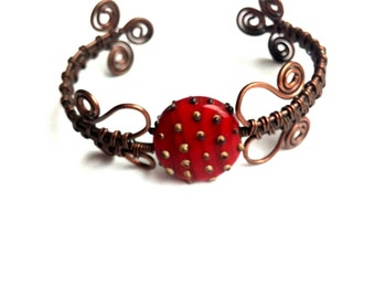 Opulent - Intricate Lampwork and Copper Wire Wrapped Bracelet