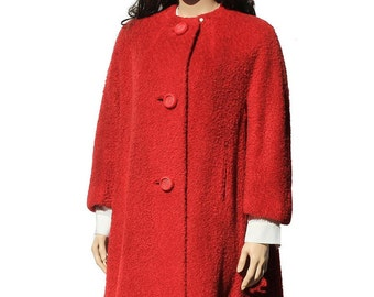Vintage Fabulous Red Vintage Coat / Wool Coat