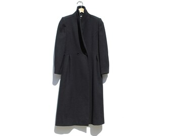 Black Pure Wool Fitted Princess Coat / Double Brest Coat