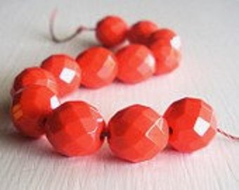 12 Opaque Coral 10m Faceted Rounds - Czech Glass Beads