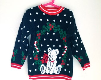 Vintage girls sweater holiday bear christmas 5t