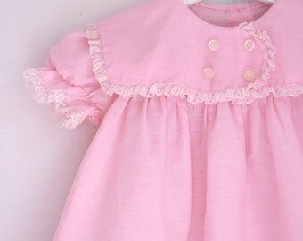 Vintage girls dress pink handmade easter dress 18 to 24 months