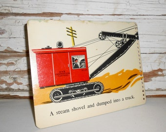 Vintage Steam Shovel Picture, Vintage Bulldozer Picture, Vintage Book Page from Stop-Look-Listen, Childrens Book Page, Nursery Decor