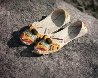 Shoe Photo, Archival Print of Girls' Jutti Pakistani Khussa Shoes on Rock, Abandoned Mojari Slippers, Flat Leather Ballet Style Slippers
