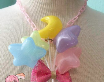 Pastel Star And Moon Balloons Sweet Lolita Fairy Kei Bow Necklace