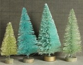 Tall Sea Glass Aqua Christmas Bottle Brush Trees - Hand Dyed Trees - Miniature Doll House Trees - Retro Christmas Decorating Display