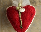 Red Wool Millinery Heart Valentine - Sweet Handmade Original Valentine Heart Decoration - Red Needle Felted Heart with Vintage Trims