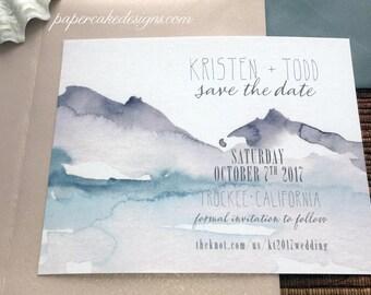 Watercolor Save The Date / Mountain Lakeside Wedding / Digital DIY Printable PDF