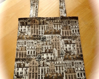 Downton Tote Bag, Historic European Townhouses Tight 'n' Tidy Tote Bag, Downton Abbey, Upstairs Downstairs, Reusable Folding Shopping Bag