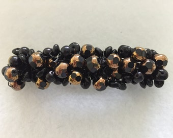 Hand Made Crochet Barrette with Black Beads