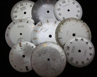 Vintage Antique Watch Dials Steampunk  Faces Parts Altered Art Industrial  H 93