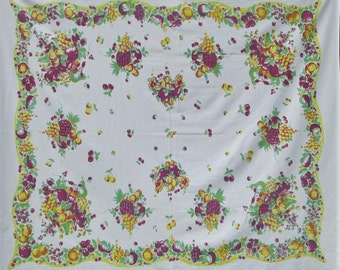 Vintage Tablecloth 1940s Broderie Fruit Table Cloth
