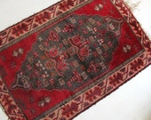 Authentic Red Moroccan Woven Area Rug - 4 feet x 3 feet