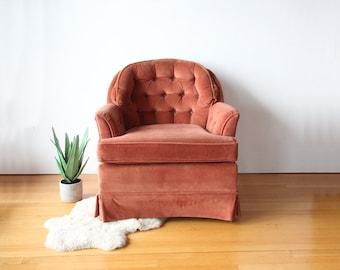 Tufted Rose Velvet Armchair
