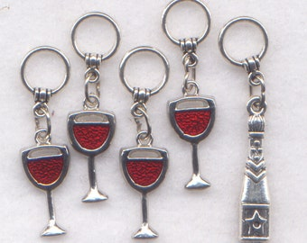 Wine Glasses Knitting Stitch Markers Fruit of The Vine Vino Red Wine Set of 5/SM104A
