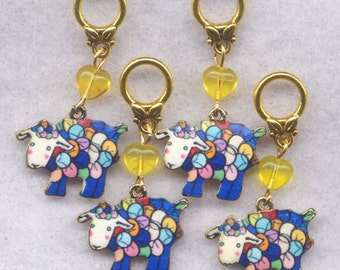 Sheep Knitting Stitch Markers Yarn Balls Enameled Flock Gold Set of 4 /SM01D