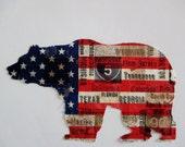 """Americana Flag Iron On Bear 6 1/2"""""""