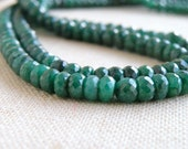 Emerald Rondelle Gemstone Green Faceted Rondelle 5.5mm 55 beads