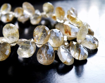 Rutilated Quartz Gemstone Briolette Golden Faceted Pear Teardrop 12 to 12.5mm 8 beads