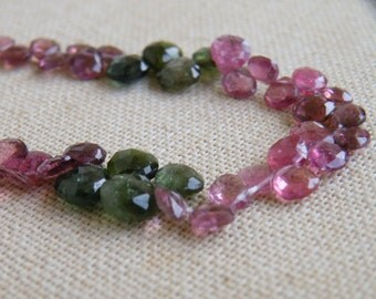 Outstanding Tourmaline Gemstone Briolette Faceted Heart Multi 4.5 to 6mm 50 beads 1/2 Strand