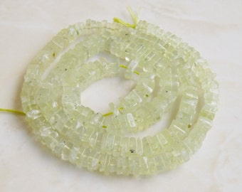 Prehnite Gemstone Heishi Apple Green Faceted 4.5mm 110 beads 1/2 strand