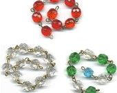 """Vintage Chandelier Beaded Chain English Cut Beads 10mm Mixed Colors Glass 18"""" Long Total"""