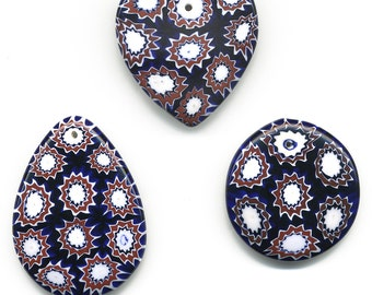 Vintage Venetian Millefiori Pendant Large Size Moretti Beads Choose Teardrop, Circle or Heart