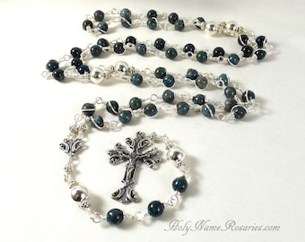 Kyanite Rosary Beads Sterling Silver Denim Blue Vintage Style Wire Wrapped Unbreakable Traditional Catholic Five Decade Mary
