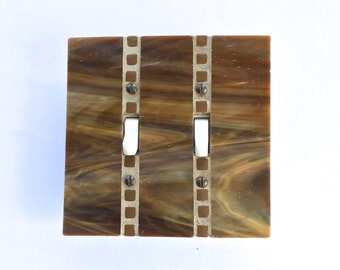 Brown Light Switch Cover, Wood Tone Switchplate, Double Toggle Switch, Stained Glass Mosaic, Decorative Wall Switch Plate, Dimmer, 8406
