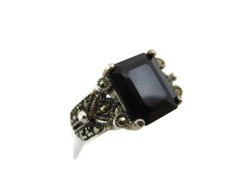 Sterling Onyx Ring - Silver and Marcasite Art Deco Ring, Statement Ring